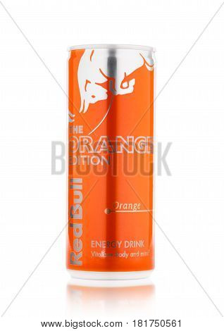 London, Uk - April 12, 2017: Can Of Red Bull Energy Drink The Orange Editionon White Background. Red