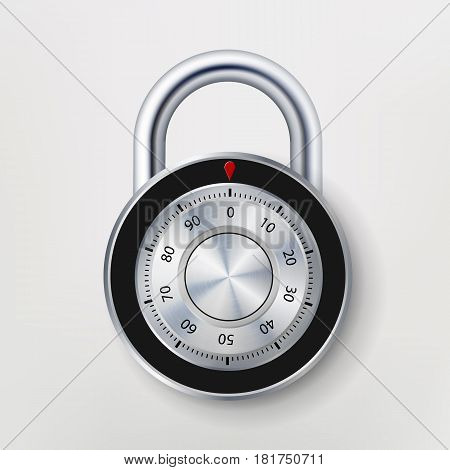 Combination Lock, Realistic Metal Vector Illustration. Safe