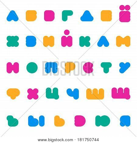 Kids multicolored rounded bold Cyrillic font. Flat style.