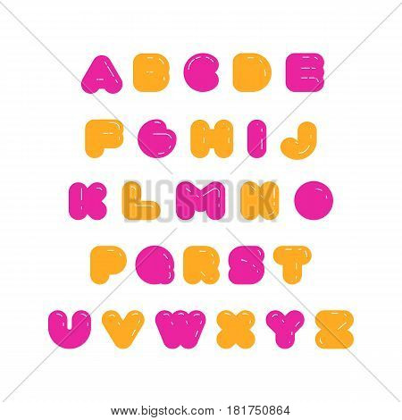Kids multicolored rounded bold English font. Rubber imitation.