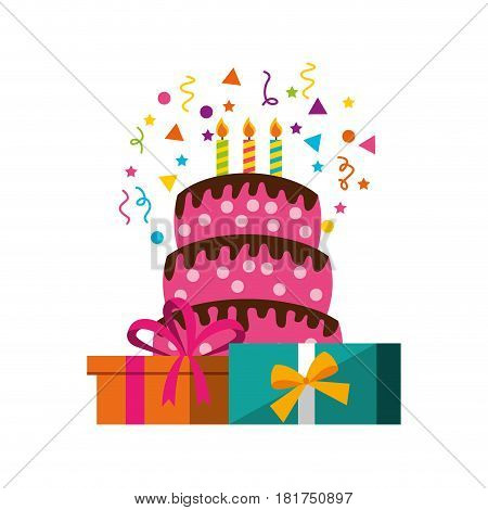 happy birthday card with gifts vector illustration design