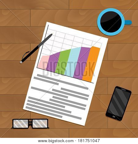 Document report file on wooden table vector result profit economy and chart illustration