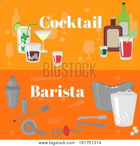 Flat Barman Mixing, Opening and Garnishing Tools. Bartender equipment Shaker, Opener, Ice Buckets, Bar spoon. Isolated instrument icon. Flat classic alcohol cocktails.