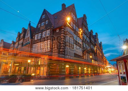 Raths-Buildings on the ancient Market Square in the centre of the Hanseatic City of Bremen, Germany