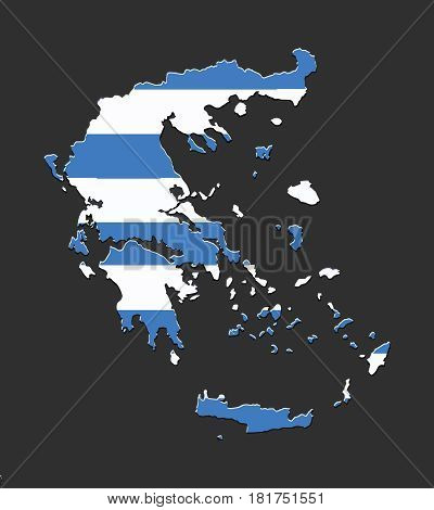 Greece map vector with the greek flag on dark background