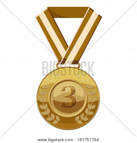 Bronze medal with number three icon. Cartoon illustration of bronze medal with number three vector icon for web
