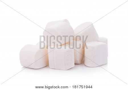 CloseUp marshmallows on white background. dessert. food