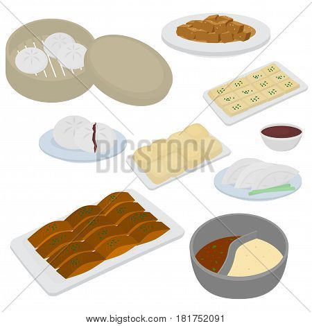 Set of chinese food flat design elements. Asian street food menu. Traditional dish Peking duck, soup huo guo, pork and tofu. Dumplings jiaozi and baozi, noodles and bun.