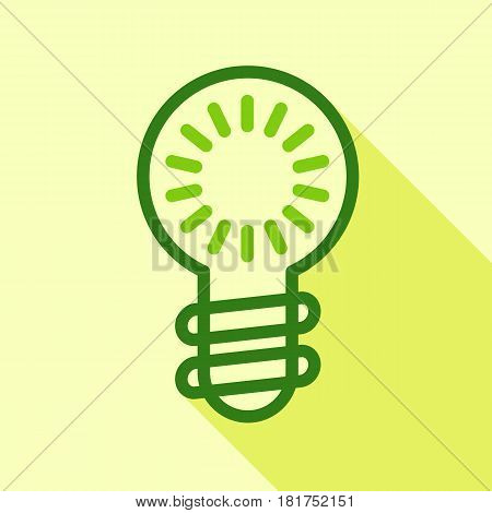 Green electric bulb icon. Flat illustration of green electric bulb vector icon for web