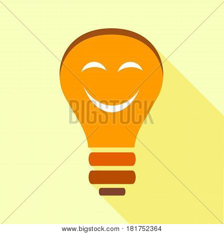 Orange smiling light bulb with eyes icon. Flat illustration of orange smiling light bulb with eyes vector icon for web
