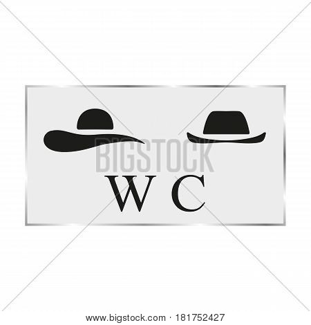 Vector illustration with male and female hat. Black white plate on the toilet door.