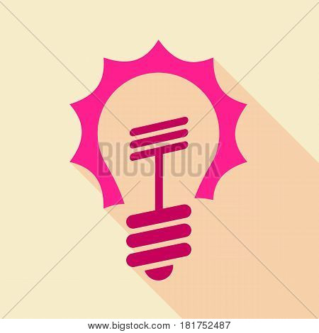 Pink light bulb icon. Flat illustration of pink light bulb vector icon for web