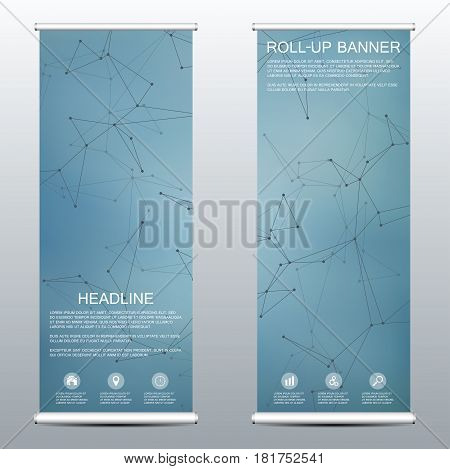 Roll-up banner for presentation and publication. Medicine, science, technology and business templates. Structure of molecular particles and atom. Polygonal abstract background. Vector illustration.