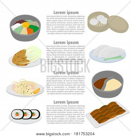 Set of korean and chinese food flat design elements. Asian street food menu. Traditional dish kimchi dumplings noodle and bibimbap. Peking duck soup huo guo pork and tofu.
