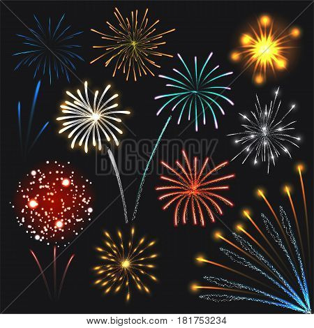 Fireworks set colorful explosions lights. Realistic illustration of 10 fireworks colorful explosions lights for web