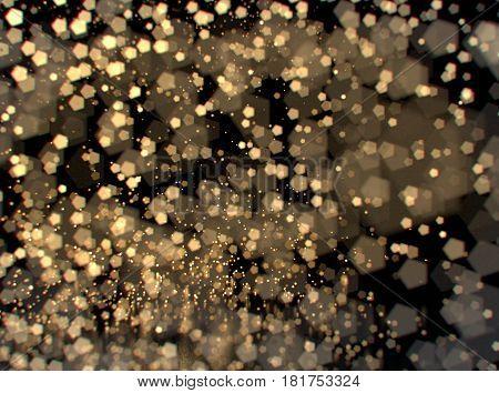 Glitter lights or sparks background. Gold and black. De-focused, bokeh. 3d illustration