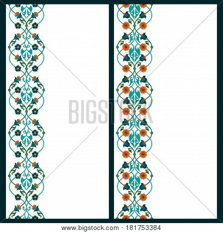 vector set with two card templates with lineal floral colorful traditional arabic decoration