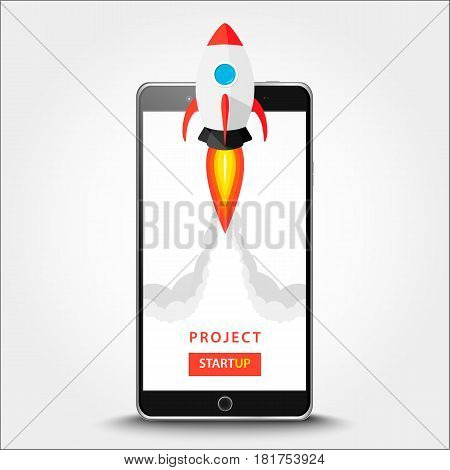 Launching App Project On Smart Phone Desktop Concept. Rocket Fly Out Of Monitor. Start Up, Business