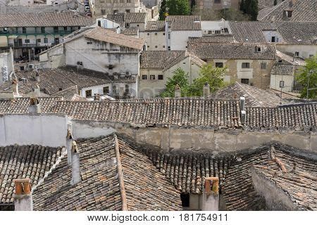 Rural, Classic tile roof, Chinchon, Spanish municipality famous for its old medieval square of green color, medieval village tourism