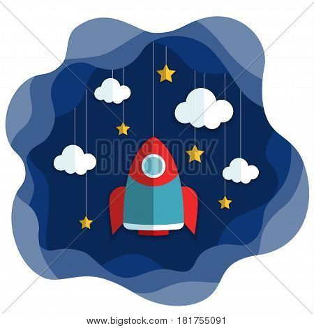 Spacecraft Vector illustration Space with stars, clouds and flying rocket in paper art cartoon style. Trendy cute design