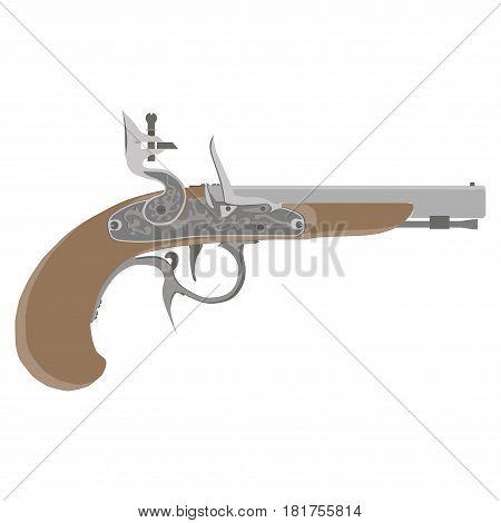 Flintlock isolated on white background vector vintage