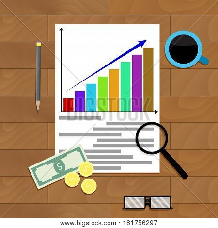 Annual report finance vector economic accounting and statistic profit illustration