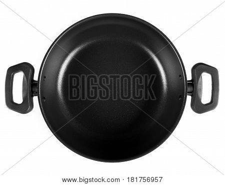 Shallow pot cuisine isolated white background. Top view of frying pan with two handles
