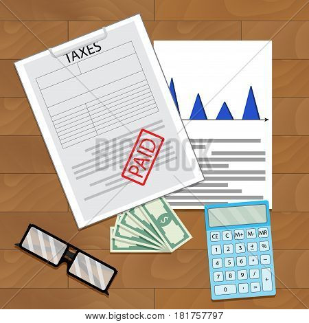 Tax paid top view. Pay balance statement income document vector illustration