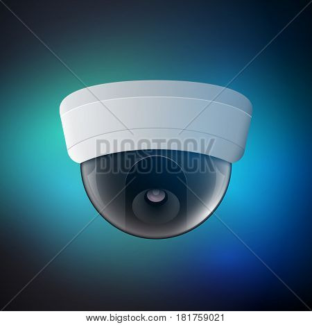 Vector security camera illustration. Safety control equipment. Ceiling camera protection technology. CCTV view video.