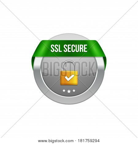 SSL secure protection symbol. SSL security transaction button with ribbon. Lock guard design icon.