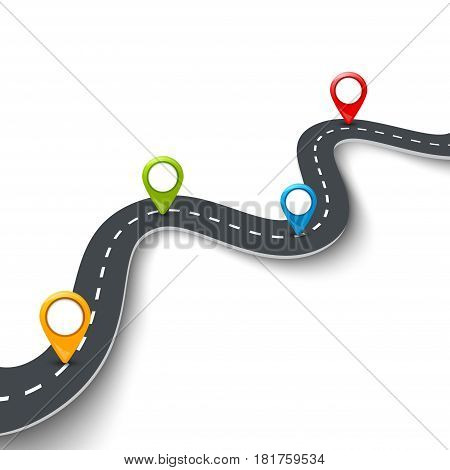Vector 3d road infographic illustration with pin, pointer. Street information concept. Asphalt road infographic and colorful pins.