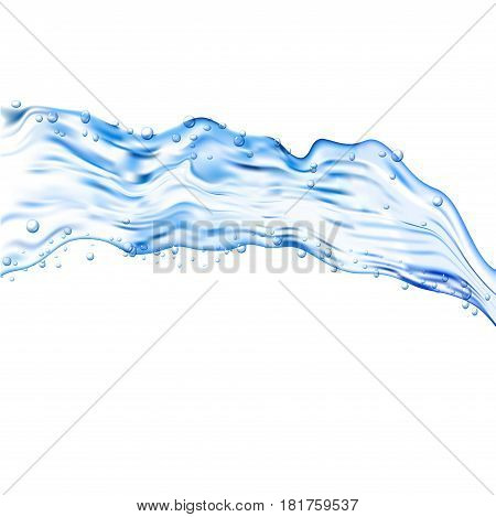 Water splash transparent illustration. Vector blue aqua liquid background. Drink clean and fresh water.