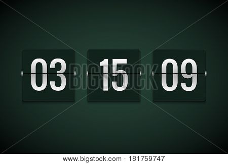 Countdown timer clock counter. Flip vector timer template. Display information of minute, hour. Scoreboard info.