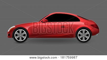 Vector red automobile coupe isolated profile side view. Luxury modern sedan transport auto car. Side view car design illustration.
