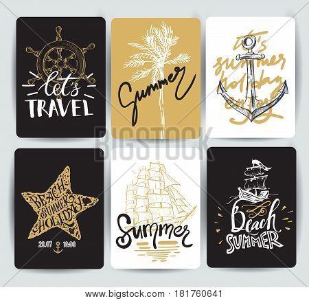 Set of hand drawn stickers of summer. Vector illustrations for summer holiday, travel and vacation, restaurant and bar, menu, sea and sun, beach vacation and party