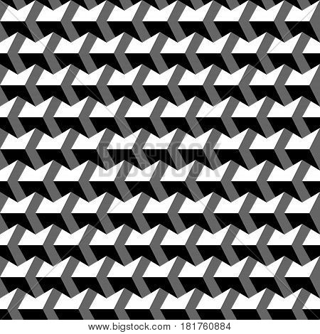 Vector seamless pattern. Repeating monochrome prisms with volume effect of stairs.