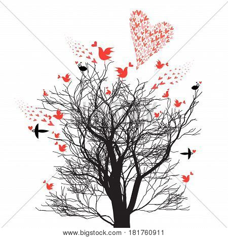 Bright graphic design tree with enamored birds and hearts on white