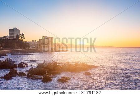 Evening View Of Valparaiso Bay, In Vina Del Mar, Chile