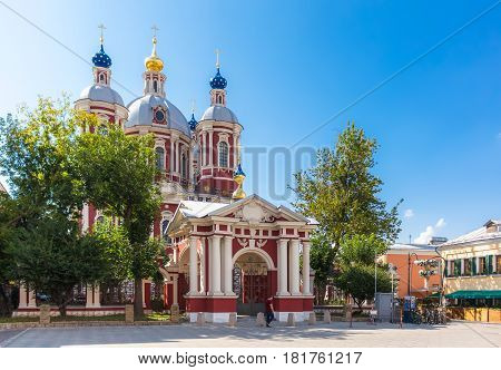 Back entrance view of the baroque church of Saint Clement of Rome in Moscow
