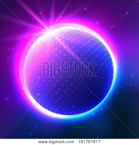 Neon Planet in space. Abstract background. Use for posters, covers, flyers, postcards, banner designs. Retro Style 90s 80s