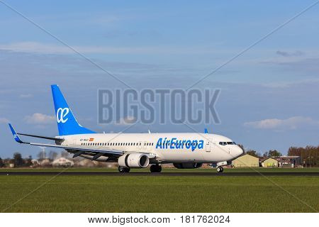 Amsterdam Schiphol Airport the Netherlands - April 14 2017: Air Europa Airlines aircraft landing