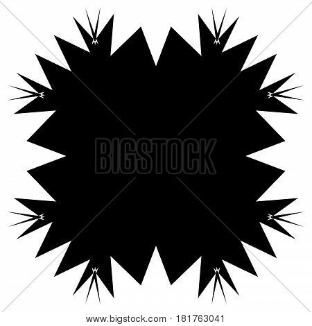 Square element with zig-zag criss-cross distortion on white. Abstract geometric square shape square element poster