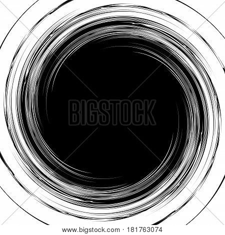 Abstract Illustration With Spiral, Swirl Element In Clipping Mask. Irregular Concentric Lines Formin