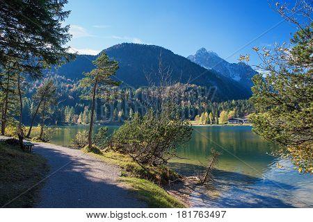 Pedestrian Walkway Along The Lake Shore Lautersee Near Mittenwald