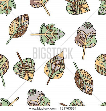 Vector Hand Drawn Seamless Pattern, Decorative Stylized Childish Trees. Doodle Style, Tribal Graphic