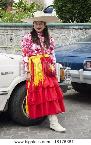 NATÍVITAS, TLAXCALA, MEXICO- MARCH 26, 2017: Woman dressed up like an adelita at Natívitas carnival. This carnival represents the battle of Puebla that took place on 5 May, 1862.