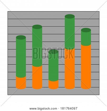 Graph with cylindrical columns. Element with info profit finance vector illustration