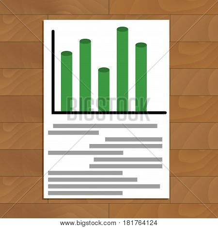 Document with diagramm. Business infochart trend on corporate paper document vector illustration