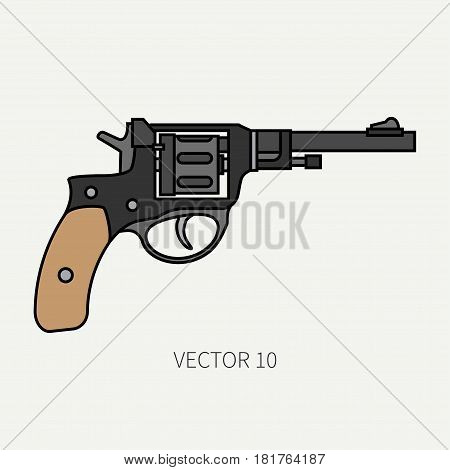 Line flat color vector military icon - revolver, pistol. Army equipment and armament. Legendary retro weapon. Cartoon style. Assault. Soldier. Slug. Illustration and element for design and wallpaper.