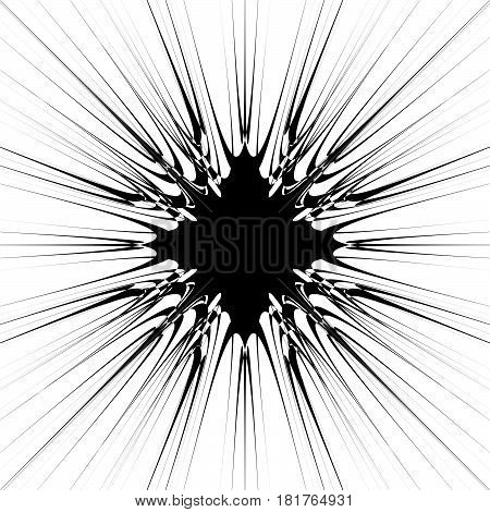 Abstract Burst Element In Clipping Mask. Radial, Radiating Lines. Geometric Rays, Beams Circular Abs